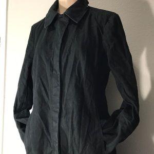 90's GAP long black denim trench coat Medium